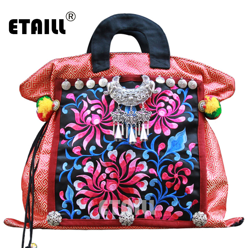 Vintage Hmong Boho Hand Trend Embroidered Bag Ladies Small Women Canvas Embroidery Brand Logo Handbags Ethnic Sac a Dos Femme yunnan hmong vintage ethnic embroidered boho indian floral embroidery thailand famous brand logo bag and handbag sac a dos femme