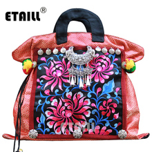 Vintage Hmong Boho Hand Trend Embroidered Bag Ladies Small Women Canvas Embroidery Brand Logo Handbags Ethnic Sac a Dos Femme