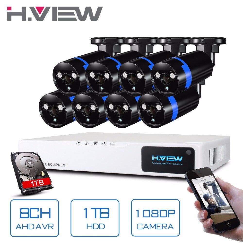 H. зрения безопасности Камера Системы 8ch CCTV Системы 8x1080 P CCTV Камера наблюдения Системы комплект Camaras Seguridad дома 1 ТБ HDD