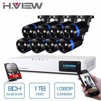 H View 8CH CCTV System 1080P HDMI AHD 8CH CCTV DVR 1TB HDD 8PCS 2 0