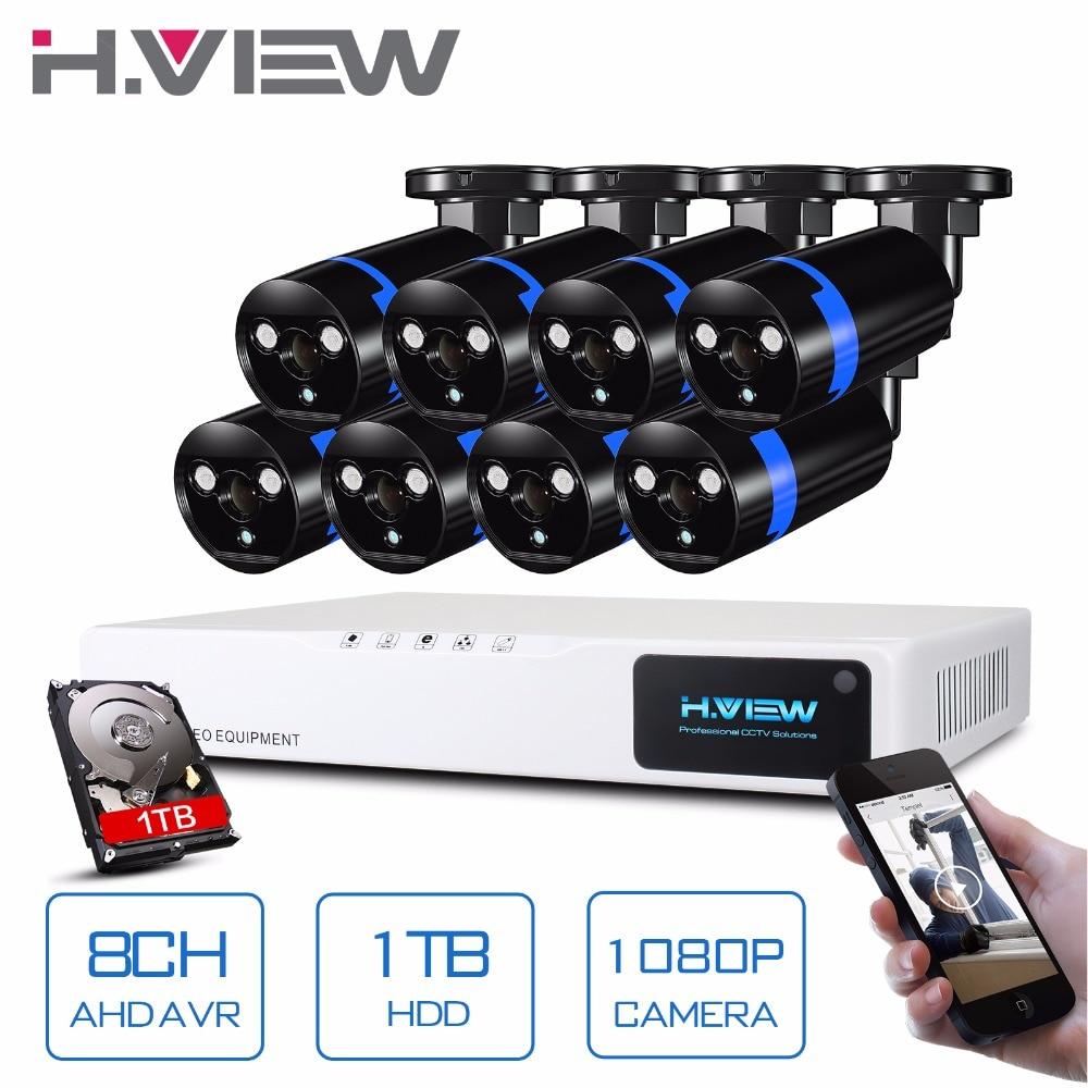 H. vista Sistema de Câmera de Segurança 8ch Sistema de CFTV 8x1080 p Câmera de CCTV Sistema de Vigilância Kit Seguridad Camaras Casa 1 tb HDD