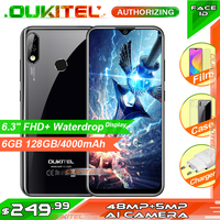 OUKITEL Y4800 6.3 FHD+ Display 6GB RAM 128GB ROM Smartphone Android 9.0 48MP+5MP Fingerprint 4000mAh 9V/2A Face ID Mobile Phone