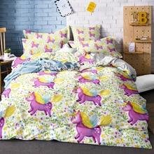 3D Digital Printing Rainbow Colorful Hand Drawn Floral Unicorn Comforter Bedding Set 100% Microfiber White