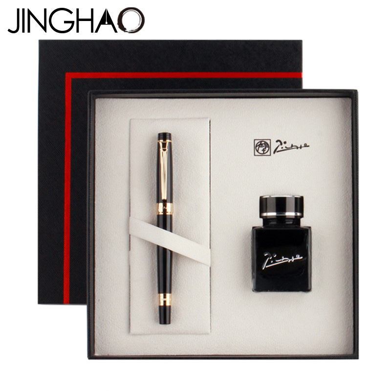 Jinghao Pimio 917 Luxury Fountain Pen Gift Set with 40ML Black Ink 0.5mm F Nib Metal Inking Pens for Christmas Gift jinghao kaco square luxury fountain pen ink set 0 5mm f nib black pen 30ml blue ink metal gift pens for business