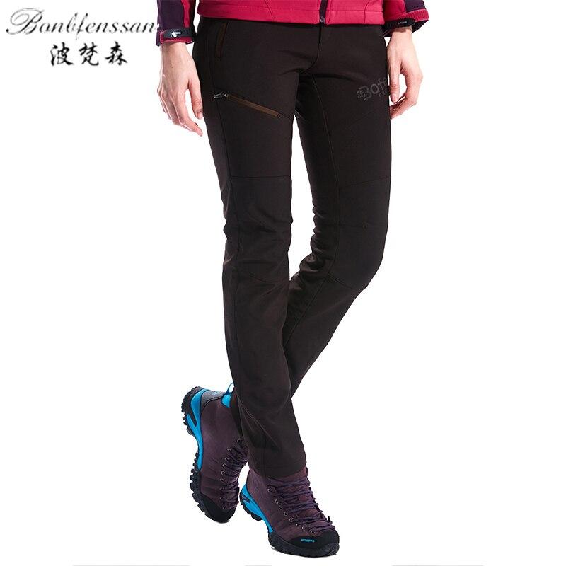 New Winter warm Outdoor Pants women Waterproof Warm Fleece Hiking Trekking Pants Climbing Camping Sport Softshell Trousers 1828B