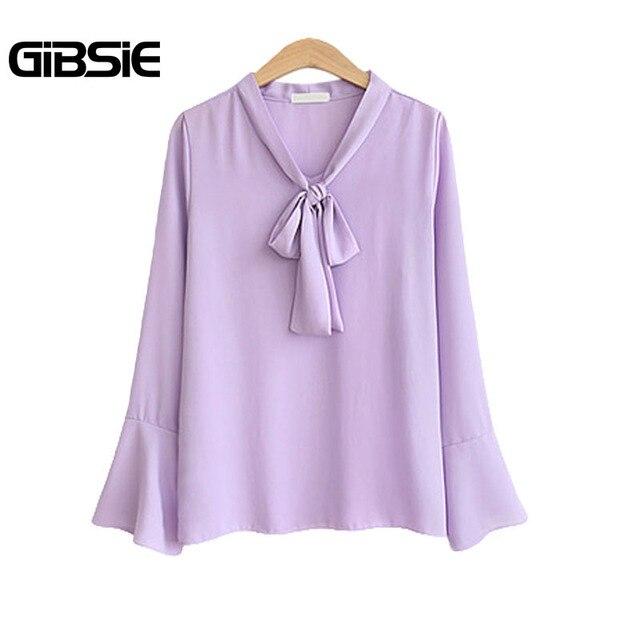 GIBSIE Bow Tie Neck Long Flare Sleeve Autumn Blouse 2018 Women Elegant OL Workwear Chiffon Shirt Plus Size Women's Clothing