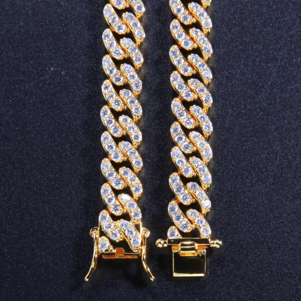 Uwin 9mm Micro Pave Iced CZ kubański Link naszyjniki łańcuchy złoty kolor luksusowe Bling Bling biżuteria moda hip hop dla mężczyźni