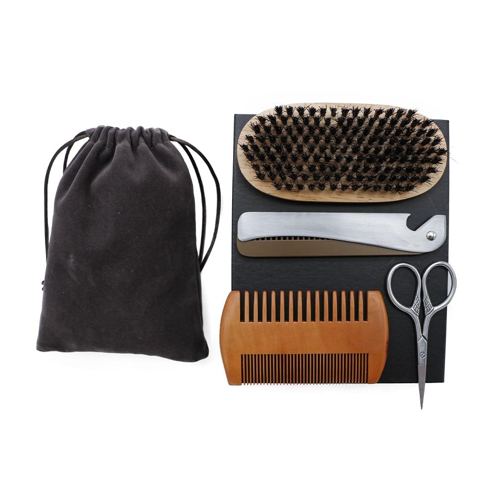 4 Pcs Brush Set For Men Facial Grooming Tools Scissor Beard Brush Foldable Steel Comb