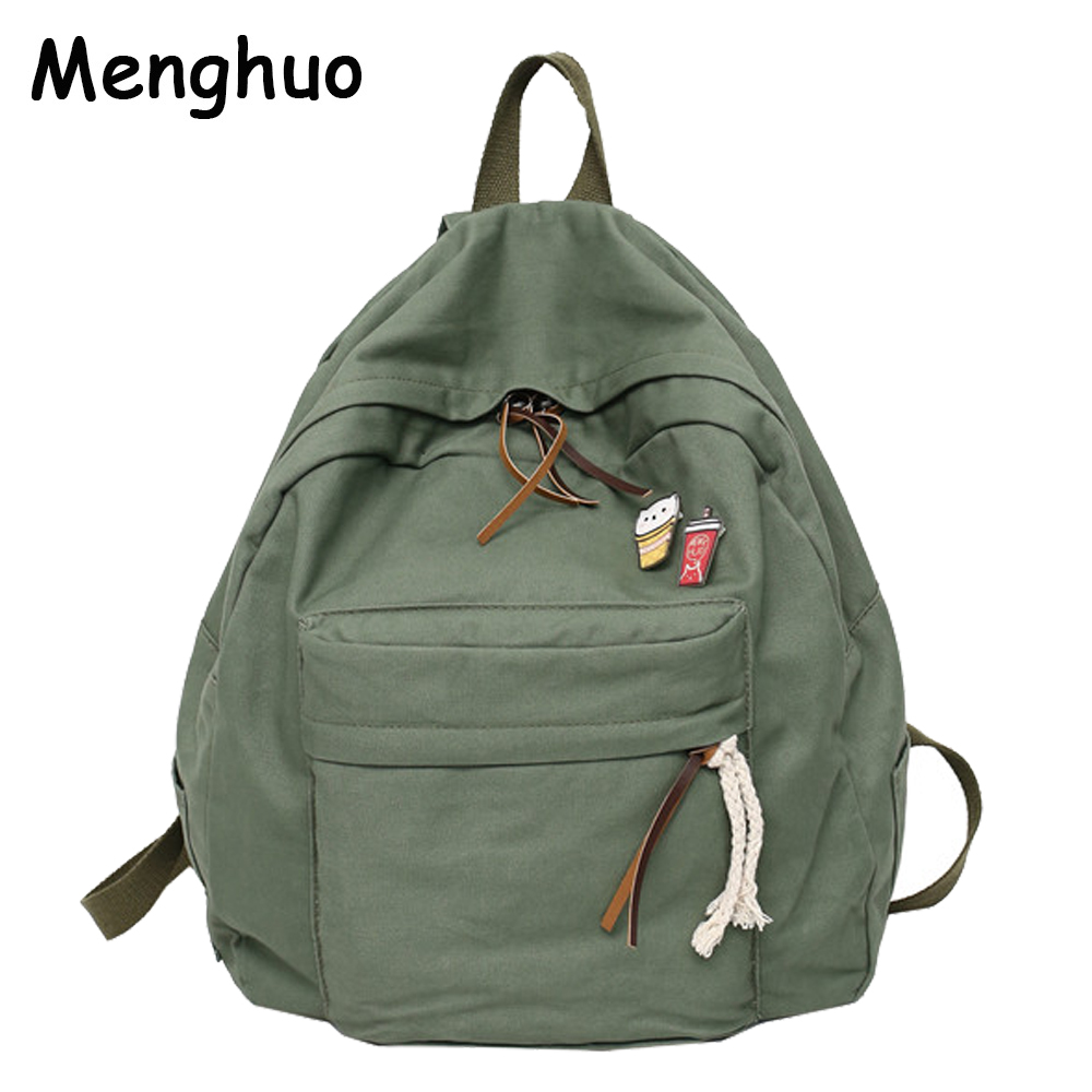 Menghuo Women Backpack for School Teenager Girls Vintage Stylish School Bag Ladies Cotton Fabric Backpack Female Bookbag Mochila