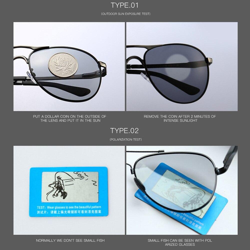 Купить с кэшбэком AIELBRO Brand Designer Men Photochromic Pilot Sunglasses Driving Driver Polarized Sunglasses Goggles Metal Glasses