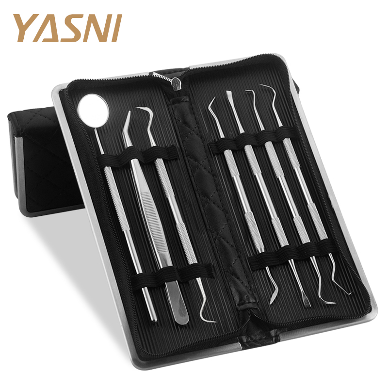 7Pcs/Set Leather Bag Stainless Steel Dental Tool Set Mouth Mirror Dental Kit Instrument Dental Pick Dentist Prepare Tool FS1357Pcs/Set Leather Bag Stainless Steel Dental Tool Set Mouth Mirror Dental Kit Instrument Dental Pick Dentist Prepare Tool FS135