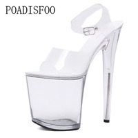 20cm Women Crystal super high heel shoes, silver slender and cross straps sandals night clubs sexy diamond stage shoes LFD 702