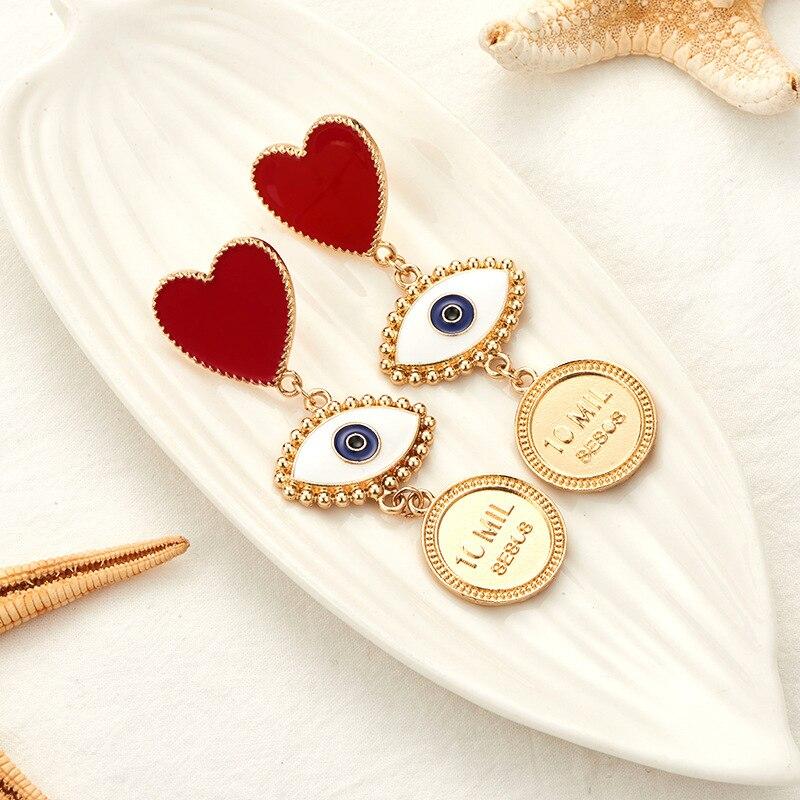 Red Enamel Heart Evil Eye Women Dangle Earrings Drop Hanging Earring Fashion Punk Jewelry Gold Color Long Statement Boho MC007 in Drop Earrings from Jewelry Accessories