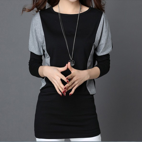 Средние и длинные кальсоны свободно плюс размер одежды мм осень топ с длинными рукавами Футболки Женщины основной рубашка