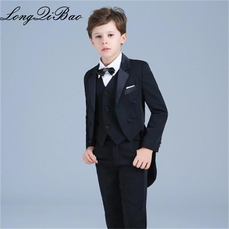 56a08ed353 High quality children's tuxedo boys dress flower girl suit wedding host suit  children stage piano costumes