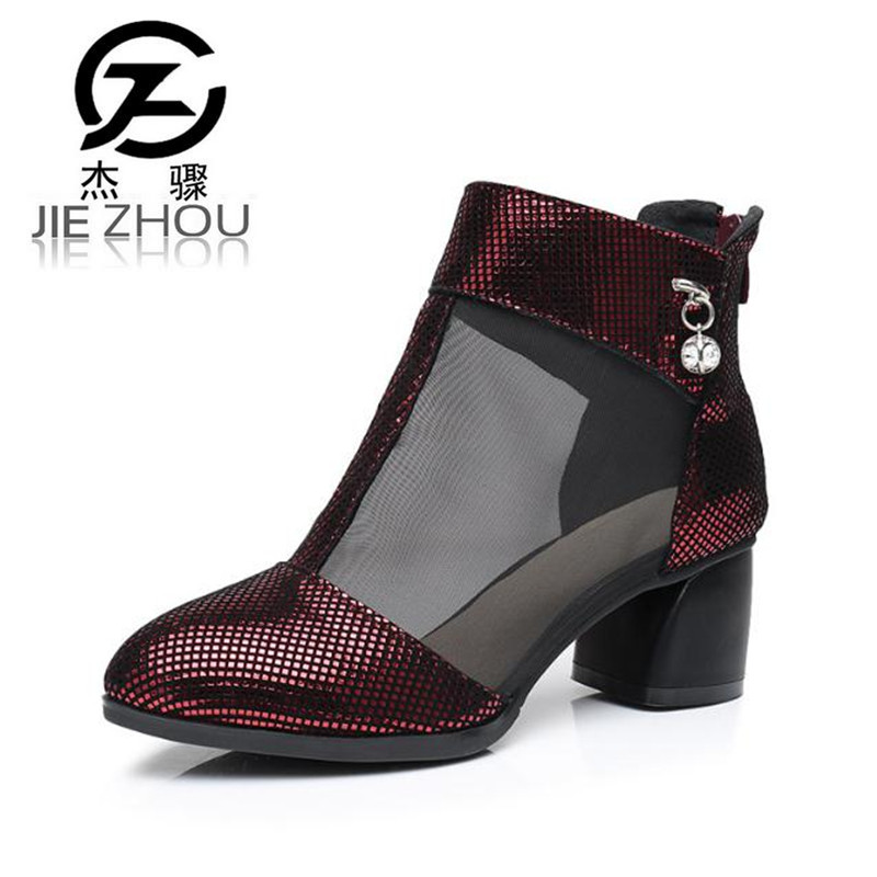 2018 new summer Hollow net boots Small code 31 32 High-heeled women's boots Fashion sexy wine red, silver large size boots boty коляска esspero summer line wine red sl010a 108068266