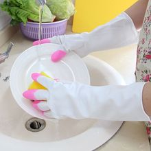 Shark oil Durable Waterproof Household Glove Warm Dishwashing Glove Water Dust Stop Cleaning Rubber Glove