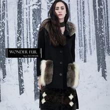 Original Design Wonder Fur Dress Golden Island Fox Fur Coat Women's Fox Fur Pocket Woolen Coat Lamb Fur Long Woollen Jacket