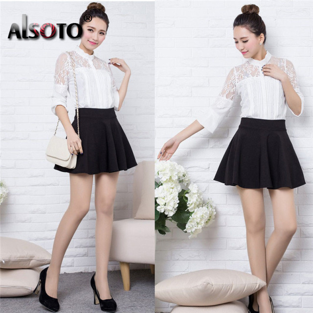 Winter and Summer style Brand elastic ladies midi short skirts 1