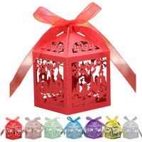 50Pcs Set Snowflake Christmas Tree Party Wedding Hollow Carriage Baby Shower Favors Gifts Candy Boxes Wedding