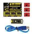 Free shipping! NEW! Keyestudio CNC shield v4 +3pcs A4988 driver+ Nano CH340  for Arduino CNC