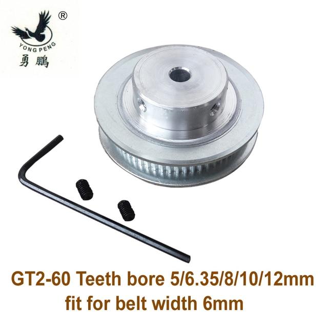 Alta calidad 1 pc 60 dientes GT2 momento polea de correa diámetro 5 6,35 8mm 10mm 12mm ajuste ancho 6mm 2GT correa de distribución para impresora 3D máquina CNC
