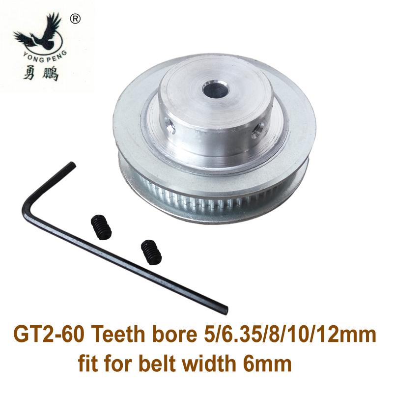 High quality 1pc 60 teeth GT2 Timing belt Pulley Bore 5 6.35 8 10 12mm fit width 6mm 2GT timing Belt for 3D printer CNC machine high quality 1pc 80 teeth gt2 timing pulley bore 5mm 14mm fit width 6mm 2gt timing belt toothed tooth cnc machine 3d printer