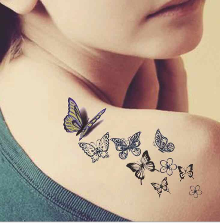 22a15caf6 Butterfly tattoo ladies back fresh water transfer female small water-proof  stickers tattoo