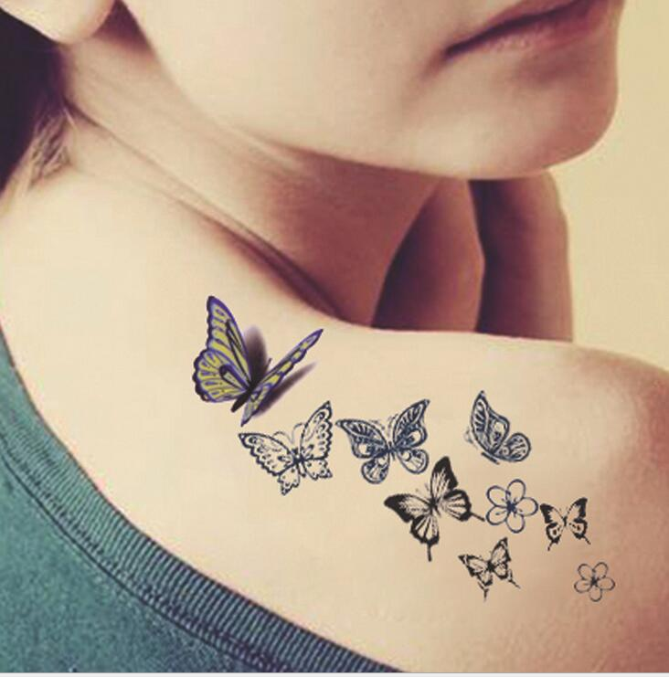 Butterfly tattoo ladies back fresh water transfer female small water-proof stickers tattoo temptu pro transfer sweet tribal butterfly wings трансферная татуировка