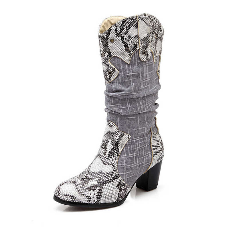 7453176bf66c9 Boussac Snake Print Cowboy Boots for Women Mid- Calf Vintage Western Boots  Women Sexy Round