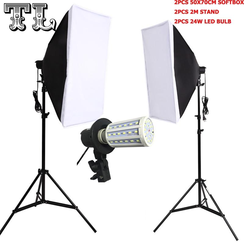 ФОТО 2PCS 24W LED E27 Bulbs Photo video lighting softbox kit Light diffuse Kit 2pcs softbox 2pcs light stand 2pcs light holder