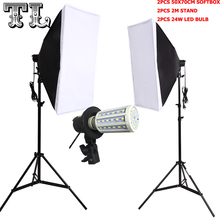 2 UNIDS 24 W LED Bombillas E27 Foto video iluminación kit softbox Kit de luz difusa 2 unids soporte de luz softbox 2 unids 2 unids luz titular