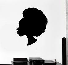Black Lady Vinyl Wall Stickers Beauty Salon Woman Hair Stylist Stickers Wall Decal Artistic Design Wallpaper Mural Poster SA469(China)