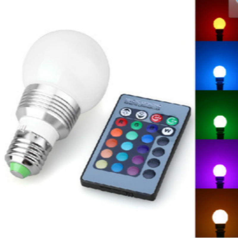 RGBW LED Bulb 5W E27 LED Lamp 220V Mini High Power Lampada Colorful With Remote Controller Home Beside Night Light Energy Saving