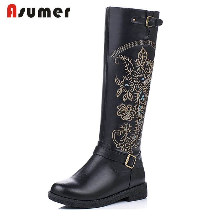 ASUMER NEW arrival 2018 fashion genuine leather+PU boots round toe knee high boots for women embroider zip flat winter bootsASUMER NEW arrival 2018 fashion genuine leather+PU boots round toe knee high boots for women embroider zip flat winter boots