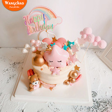 Kawaii Bear Love Heart Cake Topper Resin Happy Birthday Cake Decoration Kids Party Baby Shower Boys Girls Favors Party Supplies 10pcs lot love heart balloon cake topper happy birthday party cake decoration kids beautiful favors and gifts baby shower decora