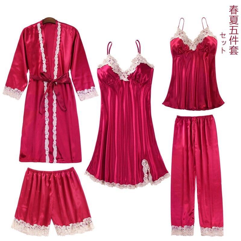 Pyjama lady 5 Piece Sexy Pajamas Set Imitation Silk Lace Sling Sleeveless Shorts Summer Robe Sleepwear womens luxury clothes