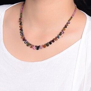 Image 5 - Оптовая продажа, ожерелье jourssnow из натурального турмалина с подвеской в виде капли дождя, ожерелье принцессы для женщин, подарок на день рождения, ювелирные изделия