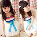2015 estilo del verano de los nuevos niños vestido velo niñas arco iris de rayas vestido de los bebés visten ropa de la muchacha envío gratis