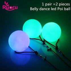 Ruoru 2 шт. = 1 пара танца живота шары RGB Светящиеся пои (мячик на верёвке) светодиодный шары для кручения для танца живота ручной реквизит аксесс...