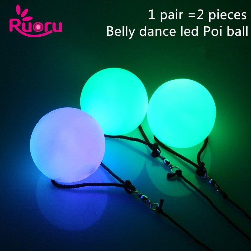 Ruoru 2 peças = 1 par bolas de dança do ventre rgb brilho led poi jogado bolas para a dança do ventre mão adereços palco desempenho acessórios