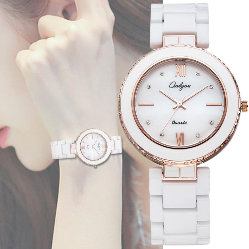Ladies Bracelet Watch White Ceramic Watches Onlyou Lu