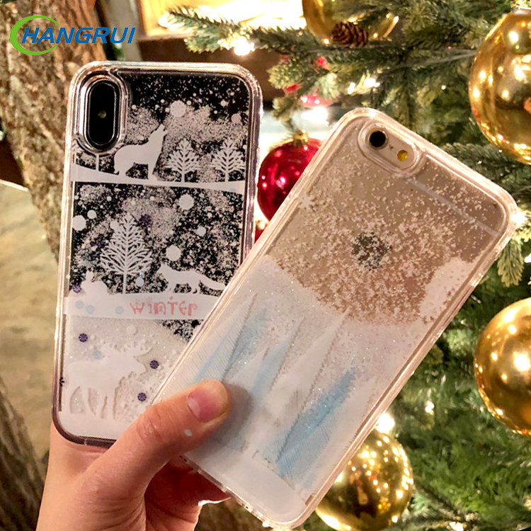 Half-wrapped Case Phone Bags & Cases Merry Chrismats Tree Flowing Snowflake Liquided Sand Case For Iphone 6 6s 7 8 Plus X Case Soft Transparent Clear Chrismats Gift