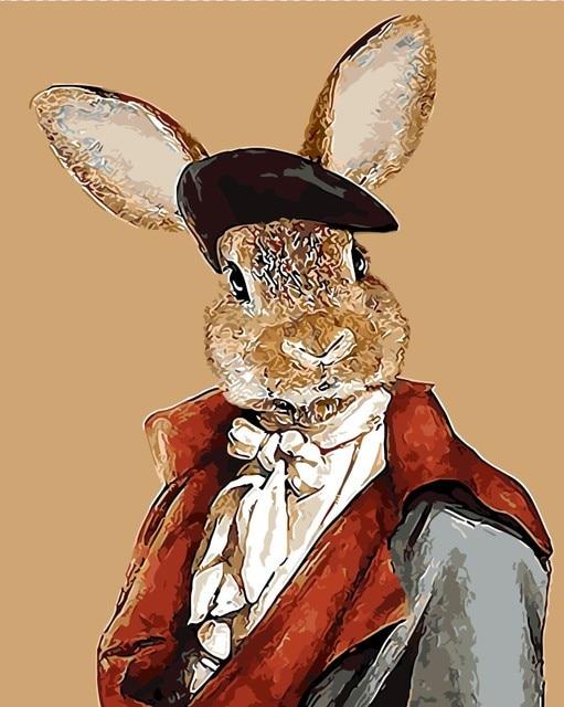 Berpakaian Mr Kelinci Player Gambar Lukisan Minyak Dengan Angka
