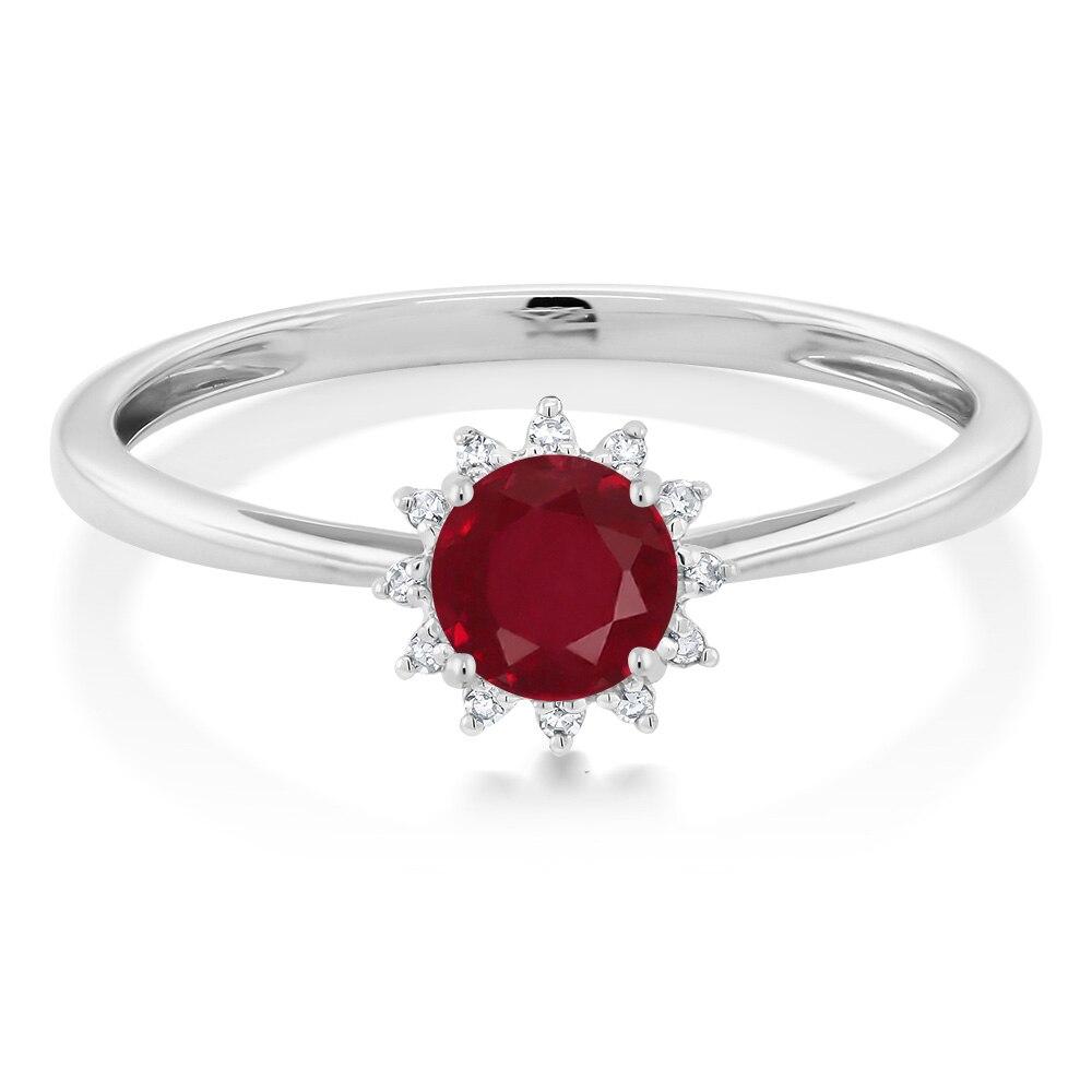 Gemstoneking 10k White Gold 055 Ct Round Red Ruby Diamond Ring Fine Jewelry