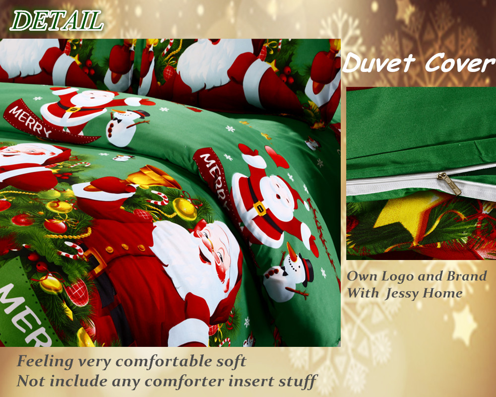 Great For Christmas, Set 4Pcs Christmas Santa Clause, 3D Bedding Set Duvet Cover Set,Sheet, Pillowcase, Sham Covers 36