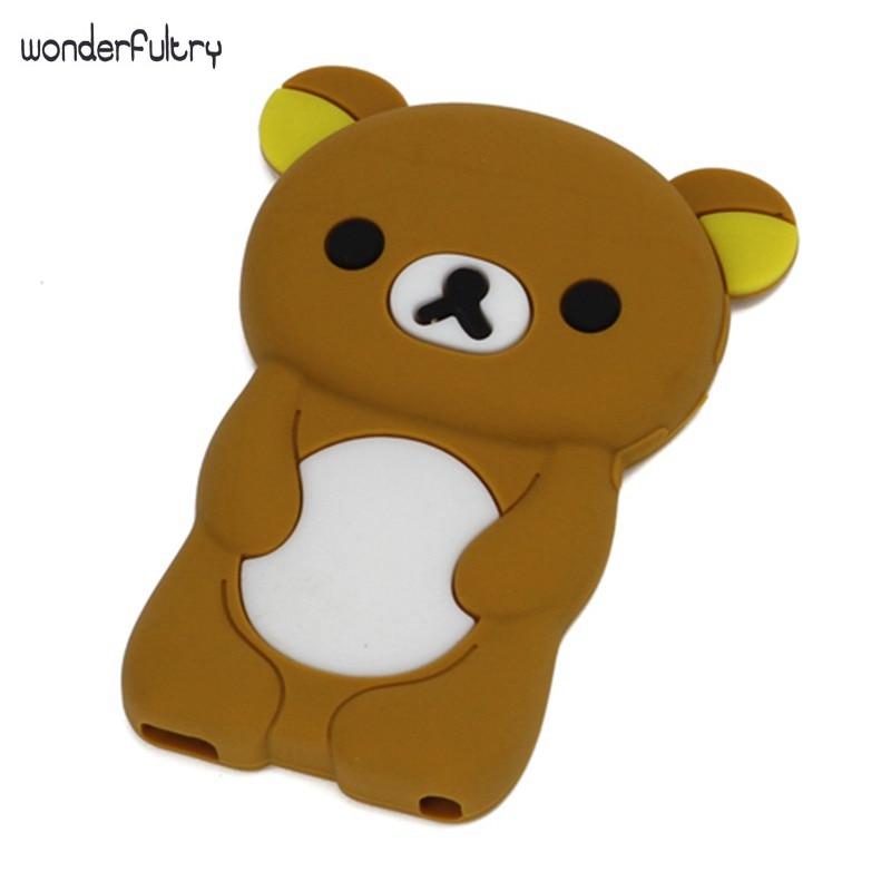 Wonderfultry Phone silica Cover Coque for iPod Nano7 Cute 3D Rilakkuma Bear Silica Gel Case Capa for iPod Nano 7 with Cases