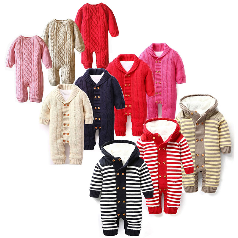 Baby winter clothes knitted warm romper with buttons thicken onesie with hood black bed khaki pink plaid striped 6 12 18 months