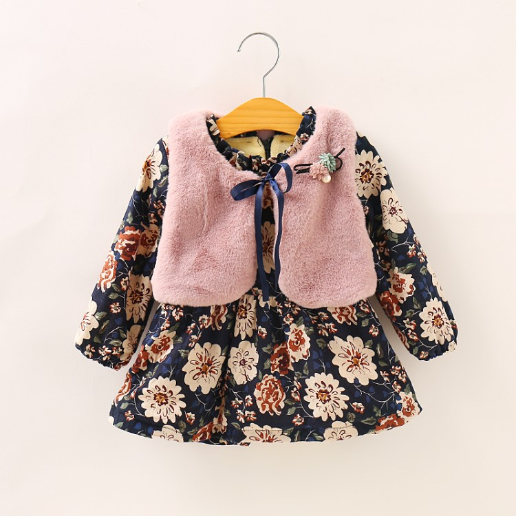 new fashion autumn baby floral print dress Fake fur vest 2PC sets winter girls thicken dresses child dot print clothing set floral print tee