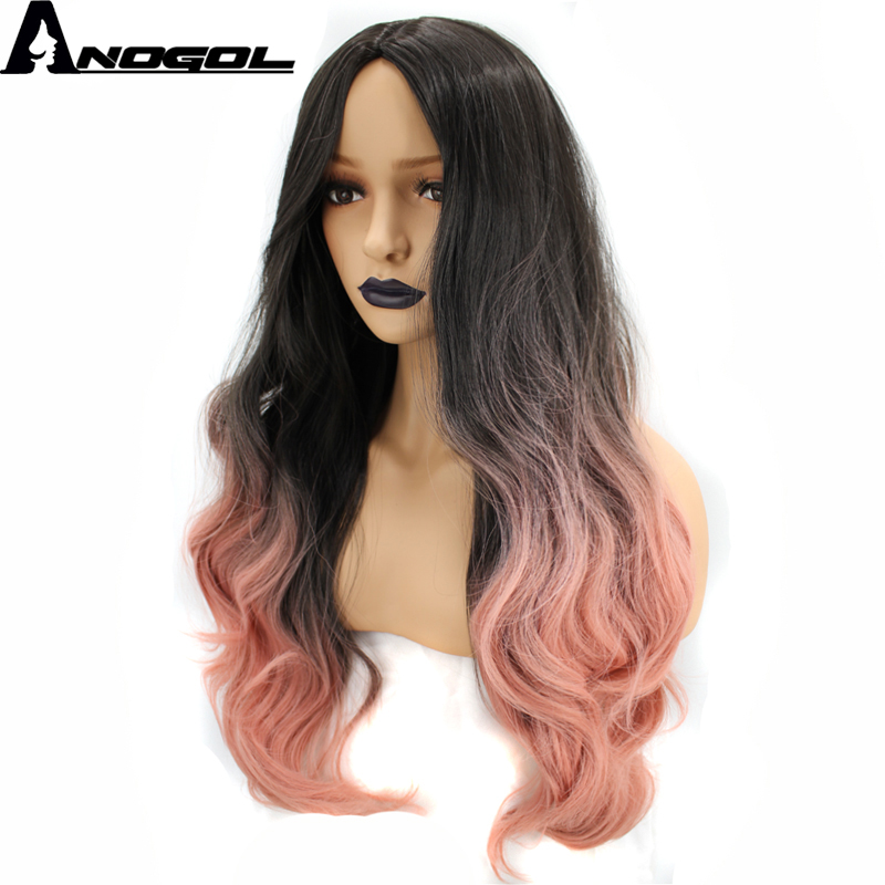 Anogol High Temperature Fiber Middle Part Natural Long Wavy Pink Ombre Dark Roots Synthetic Wig For White Women